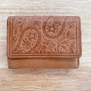 Fossil Embossed Floral Leather Wallet